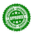 round stamp approved vector image vector image