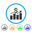 Sales bar chart rounded icon