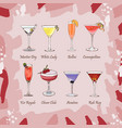 set of classic cocktails fresh bar alcoholic vector image