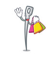 shopping needle character cartoon style vector image vector image