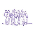 sketch businesspeople team moving forward over vector image vector image