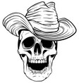 spooky cowboy skull character with classic felt vector image vector image