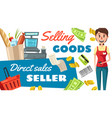 supermarket seller profession poster vector image vector image