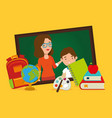 teacher female with school supplies vector image vector image