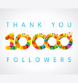 thank you 10000 followers color numbers vector image vector image