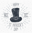 vintage label hand drawn leprechaun hat happy vector image vector image