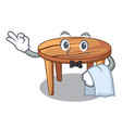 waiter cartoon wooden dining table in kitchen vector image