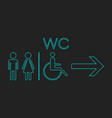 wc toilet neon icon men and women sign for vector image vector image