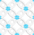 White geometrical flowers and squares layered vector image vector image