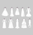 white wedding dresses on hangers marriage clothes vector image
