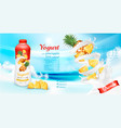 white yogurt with pineapple in bottle vector image vector image