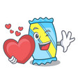 with heart candy mascot cartoon style vector image