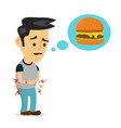 young suffering man is hungry thinks about food vector image vector image