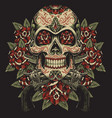 skull and roses with revolvers tattoo vector image