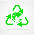 recycle icon with earth globe vector image