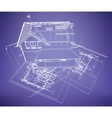 wireframe buildings vector image