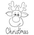 a christmas head deer with lettering image vector image