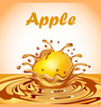 a splash of juice from a falling apple and a drop vector image