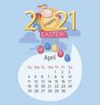 april 2021 bull calendar happy easter funny vector image vector image