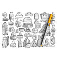 bags hand drawn doodle set vector image vector image