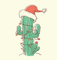 cactus christmas red santa hat color hand drawn vector image vector image