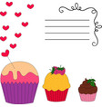 card with cupcakes vector image vector image