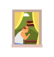 cartoon bald man sitting behind table at his house vector image