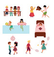 cartoon kids spending vacation in summer camp vector image vector image