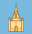 cathedral church icon hand drawn style vector image
