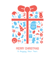 Christmas holiday flat design icons set vector image vector image