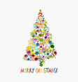 christmas tree greeting card for your design vector image vector image