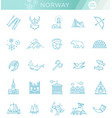 city sights icons norway landmark vector image vector image
