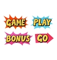 Comic text icons Lettering such as Game vector image