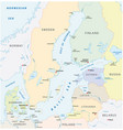 detailed baltic sea area map vector image vector image