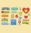 donate buttons set help icon donation gift charity vector image vector image