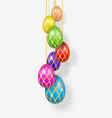 easter egg 3d bright hanging easter eggs on rope vector image