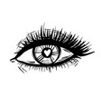 eye with heart and long lashes black and white vector image vector image