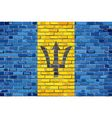 Flag of Barbados on a brick wall vector image vector image
