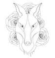 Graceful fox coloring page for adult vector image vector image