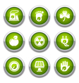 green ecology buttons vector image vector image