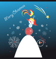 greeting card with a snowman vector image vector image