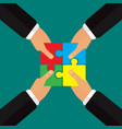 hands putting puzzle together teamwork vector image