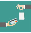 Hands with shopping bag and money card Exchanging vector image vector image