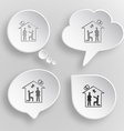 Home affiance White flat buttons on gray vector image