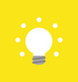 icon concept of glowing light bulb on yellow vector image vector image