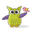 icon of cute green owl with bird vector image vector image