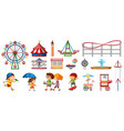 isolated objects from circus theme with kids and vector image vector image