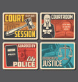 judge and court law legislation and justice vector image vector image