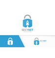 lock and rocket logo combination safe and vector image vector image