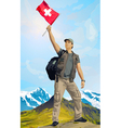 Man tourist standing on mountain vector image vector image
